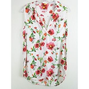 Equipment   Floral Button Down 100% Silk Blouse